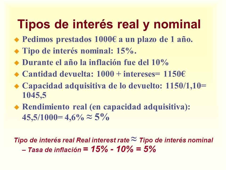 Tipos de interés real y nominal