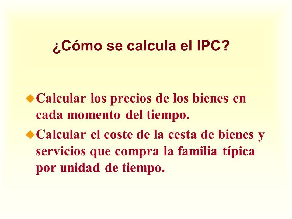 ¿Cómo se calcula el IPC Calcular los precios de los bienes en cada momento del tiempo.