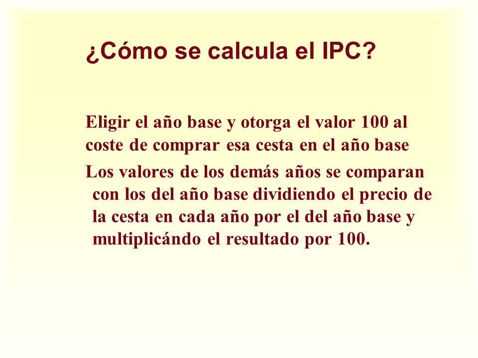 ¿Cómo se calcula el IPC Eligir el año base y otorga el valor 100 al coste de comprar esa cesta en el año base.