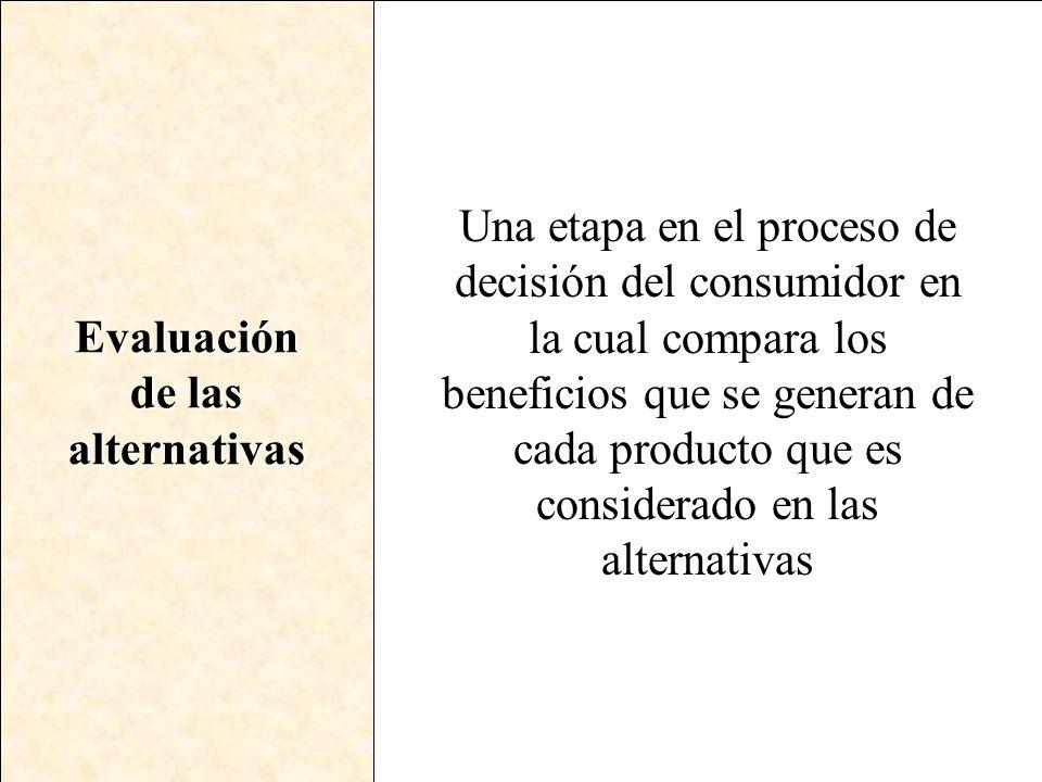 Evaluación de las. alternativas.