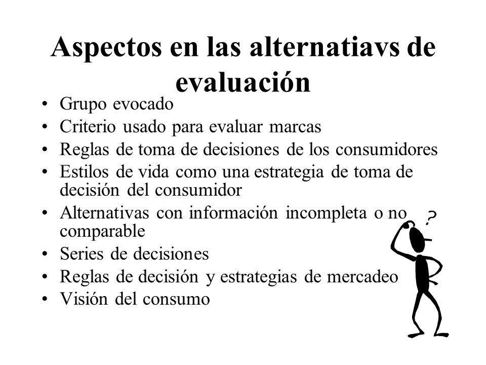 Aspectos en las alternatiavs de evaluación