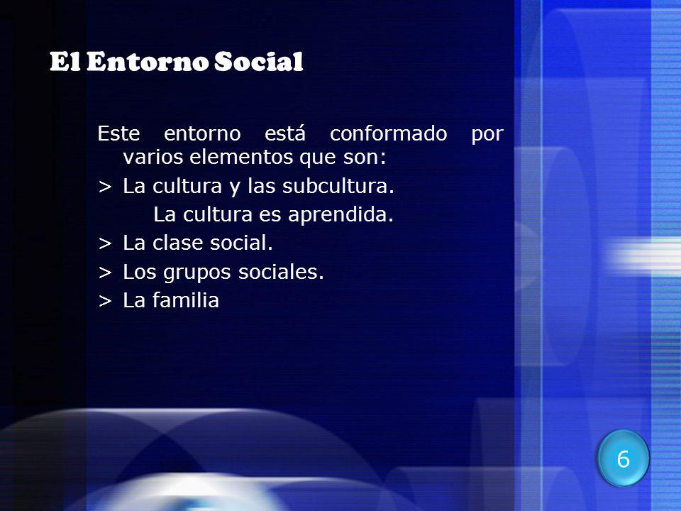 El Entorno Social Este entorno está conformado por varios elementos que son: La cultura y las subcultura.