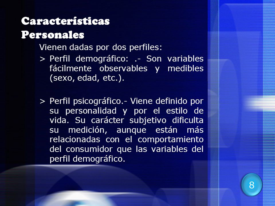 Características Personales
