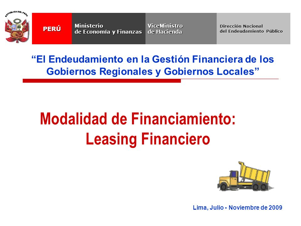 Modalidad de Financiamiento: Leasing Financiero
