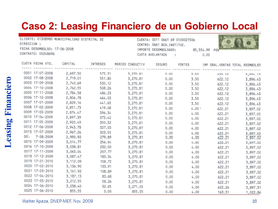 Caso 2: Leasing Financiero de un Gobierno Local