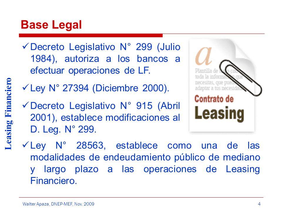 Base Legal Decreto Legislativo N° 299 (Julio 1984), autoriza a los bancos a efectuar operaciones de LF.