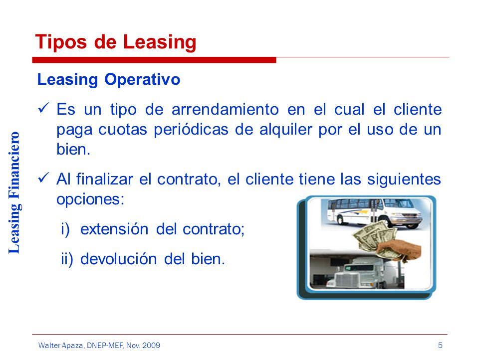 Tipos de Leasing Leasing Operativo