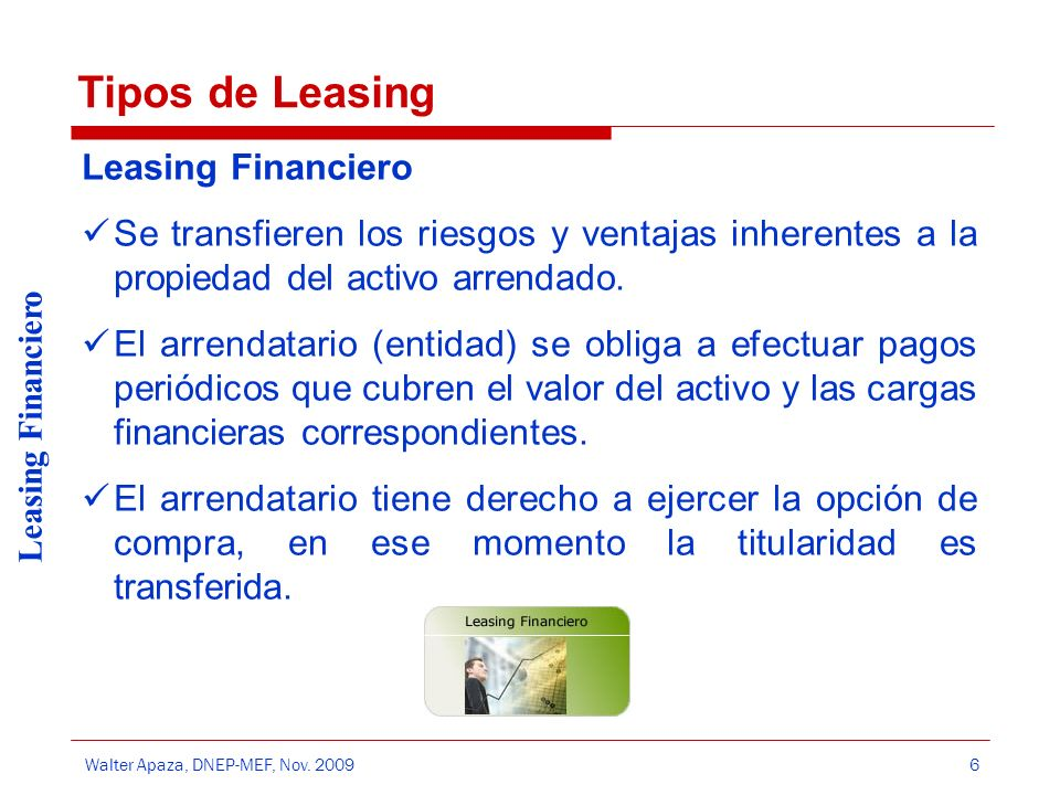 Tipos de Leasing Leasing Financiero