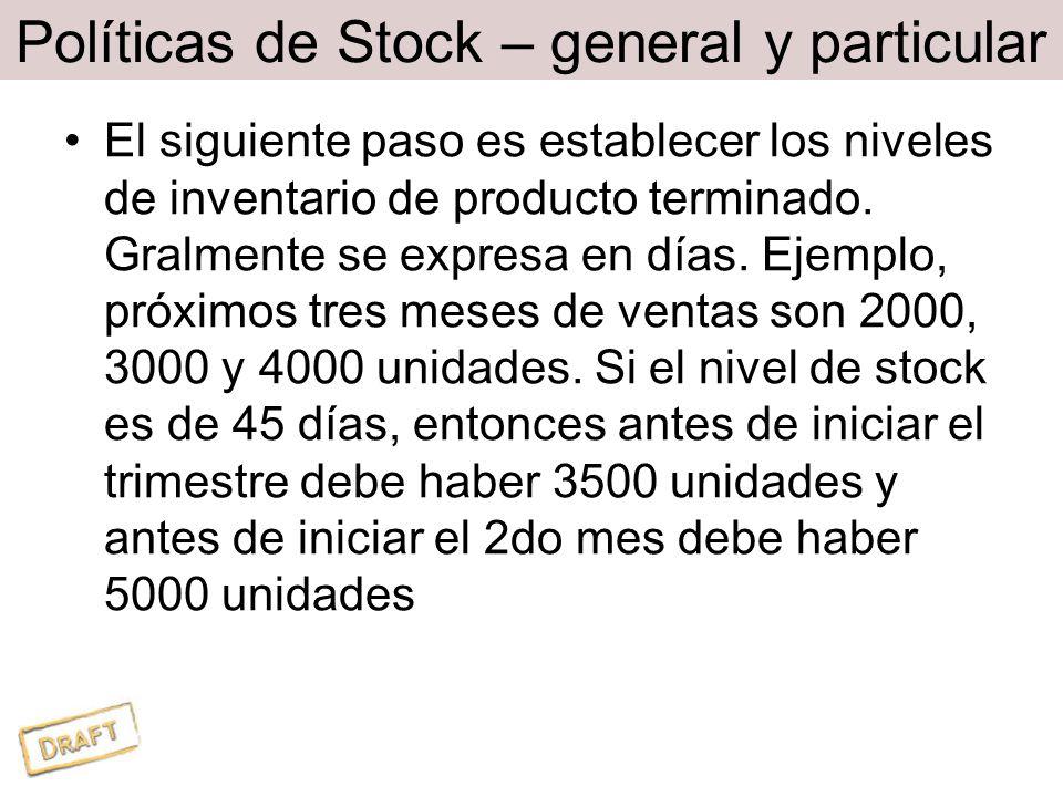 Políticas de Stock – general y particular