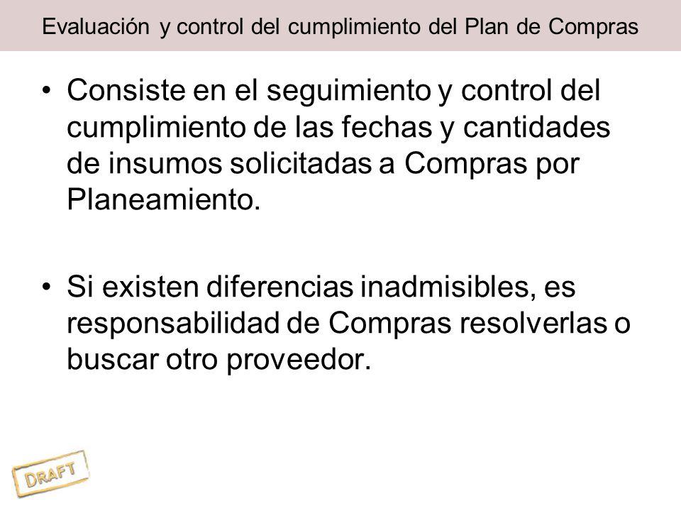 Evaluación y control del cumplimiento del Plan de Compras