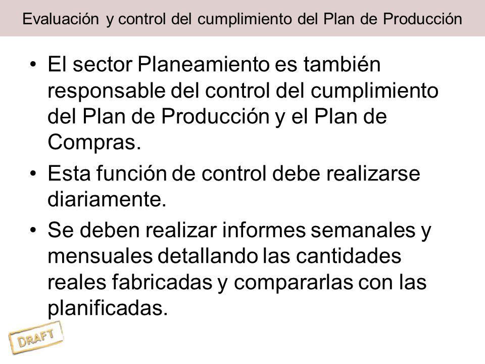 Evaluación y control del cumplimiento del Plan de Producción