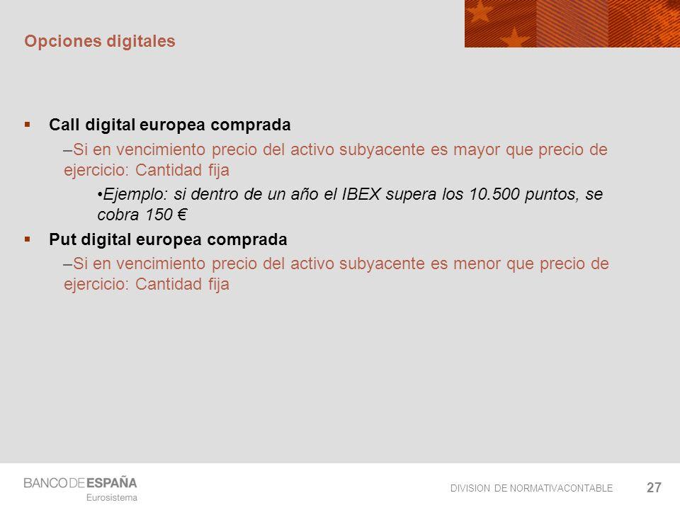Opciones digitalesCall digital europea comprada. Si en vencimiento precio del activo subyacente es mayor que precio de ejercicio: Cantidad fija.