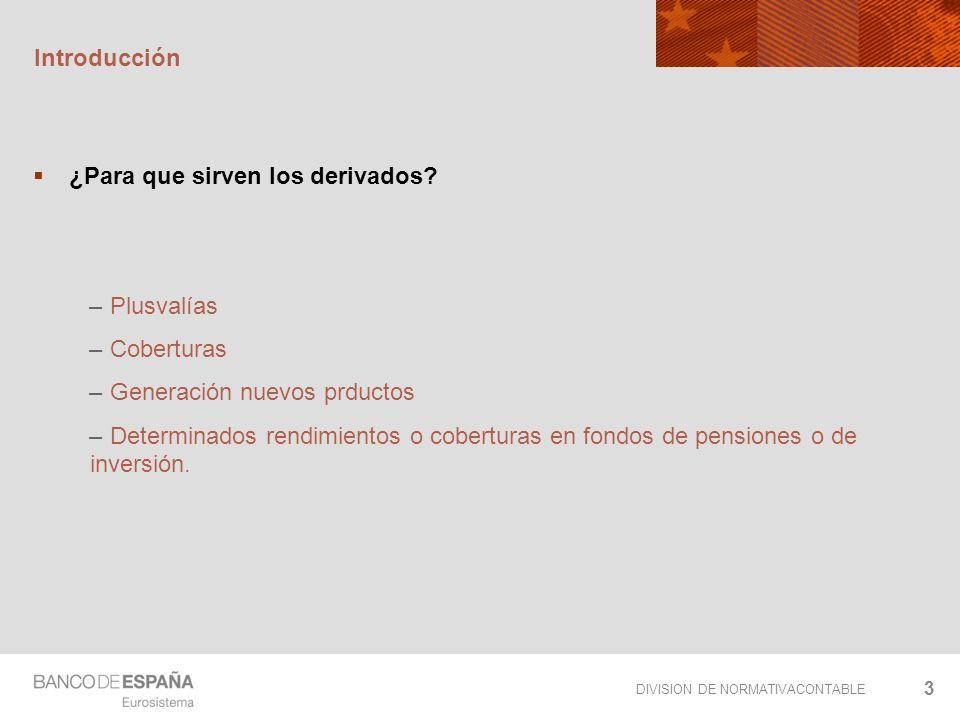 Introducción ¿Para que sirven los derivados Plusvalías. Coberturas. Generación nuevos prductos.