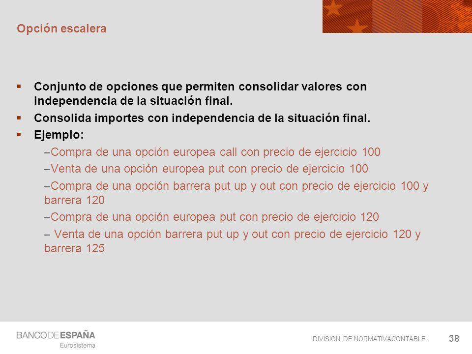 Opción escaleraConjunto de opciones que permiten consolidar valores con independencia de la situación final.