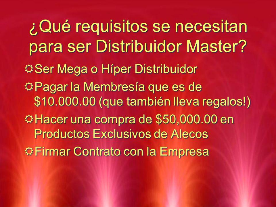 ¿Qué requisitos se necesitan para ser Distribuidor Master