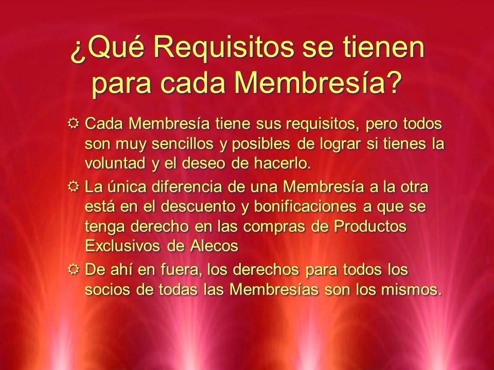 ¿Qué Requisitos se tienen para cada Membresía