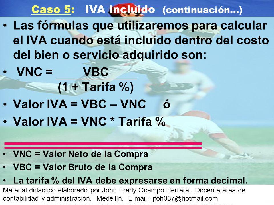 Caso 5: IVA Incluido (continuación…)