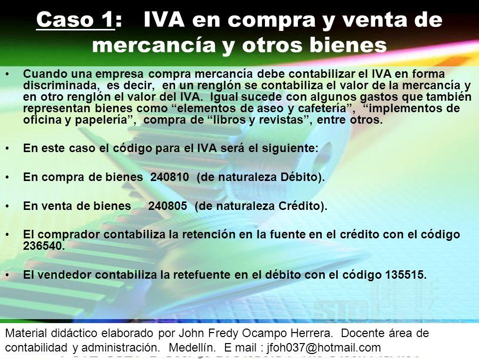 Caso 1: IVA en compra y venta de mercancía y otros bienes