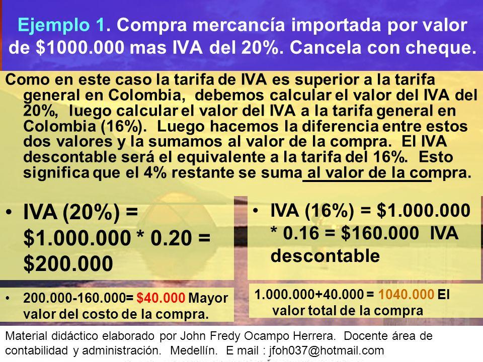 Ejemplo 1. Compra mercancía importada por valor de $1000
