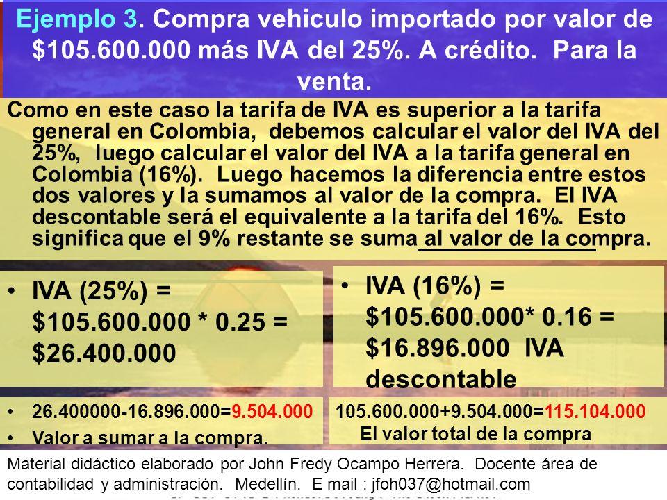 IVA (16%) = $105.600.000* 0.16 = $16.896.000 IVA descontable