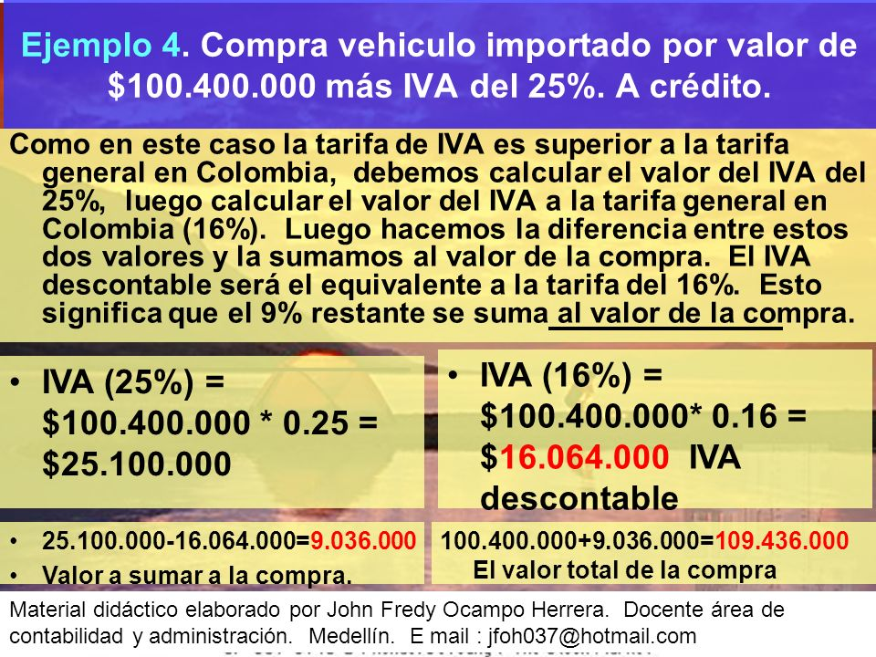 IVA (16%) = $100.400.000* 0.16 = $16.064.000 IVA descontable