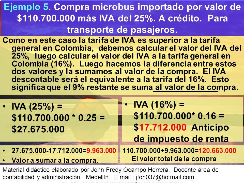 Ejemplo 5. Compra microbus importado por valor de $110. 700