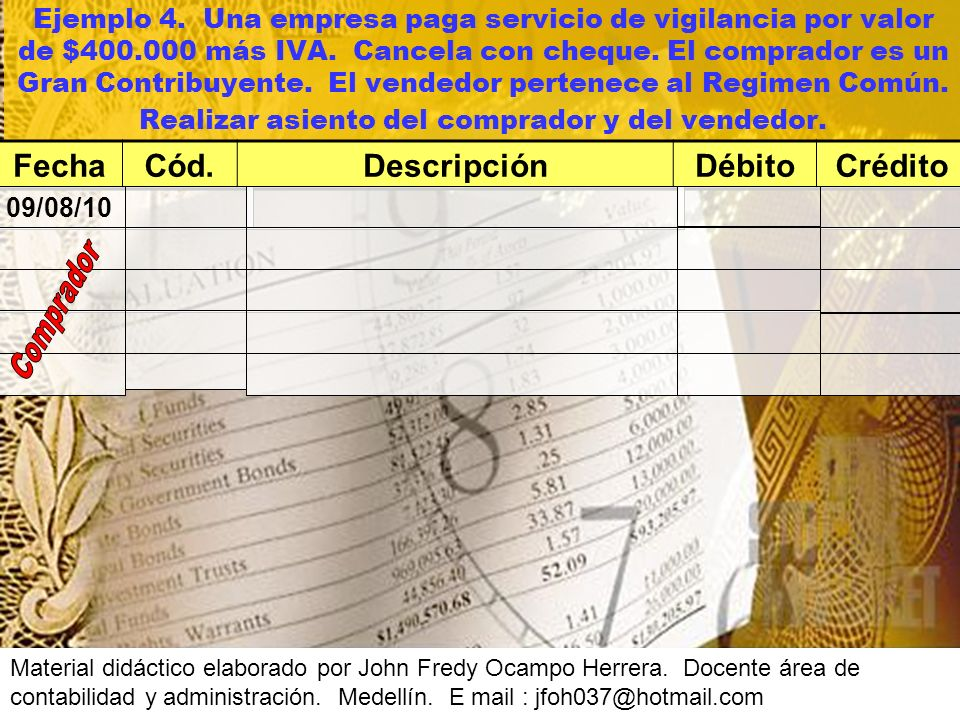 Fecha Cód. Descripción Débito Crédito
