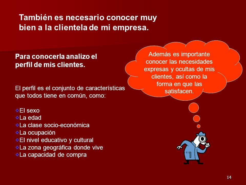 También es necesario conocer muy bien a la clientela de mi empresa.