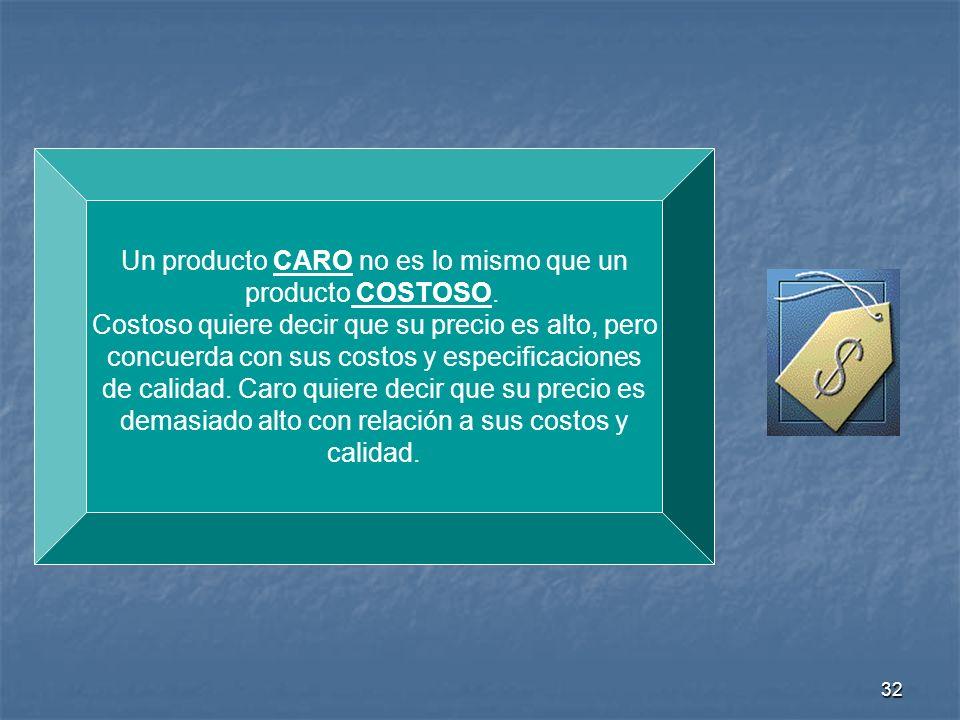 Un producto CARO no es lo mismo que un producto COSTOSO.