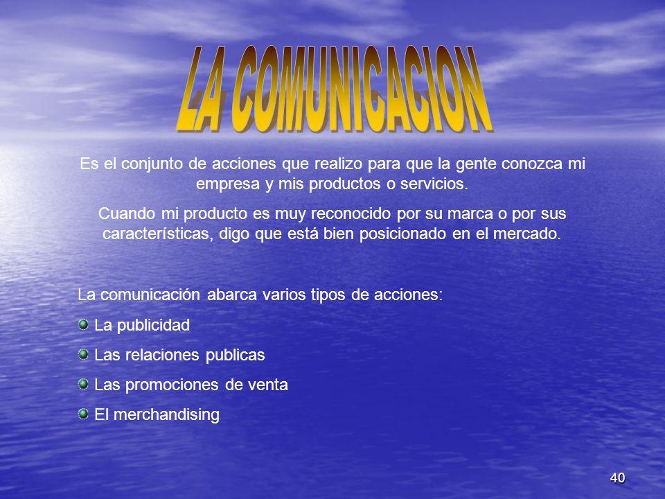 LA COMUNICACION Es el conjunto de acciones que realizo para que la gente conozca mi empresa y mis productos o servicios.