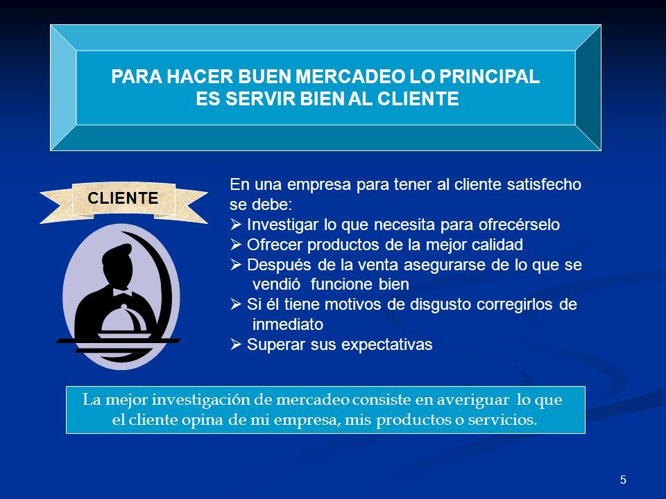 PARA HACER BUEN MERCADEO LO PRINCIPAL ES SERVIR BIEN AL CLIENTE