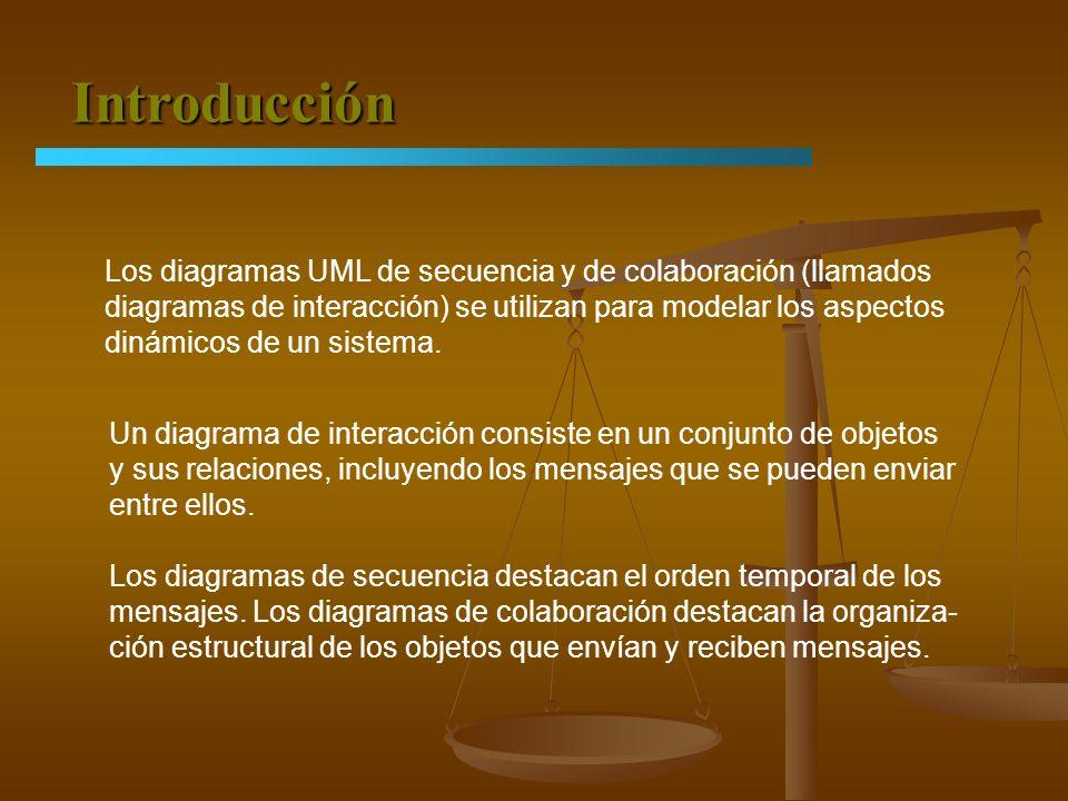 Introducción Los diagramas UML de secuencia y de colaboración (llamados. diagramas de interacción) se utilizan para modelar los aspectos.