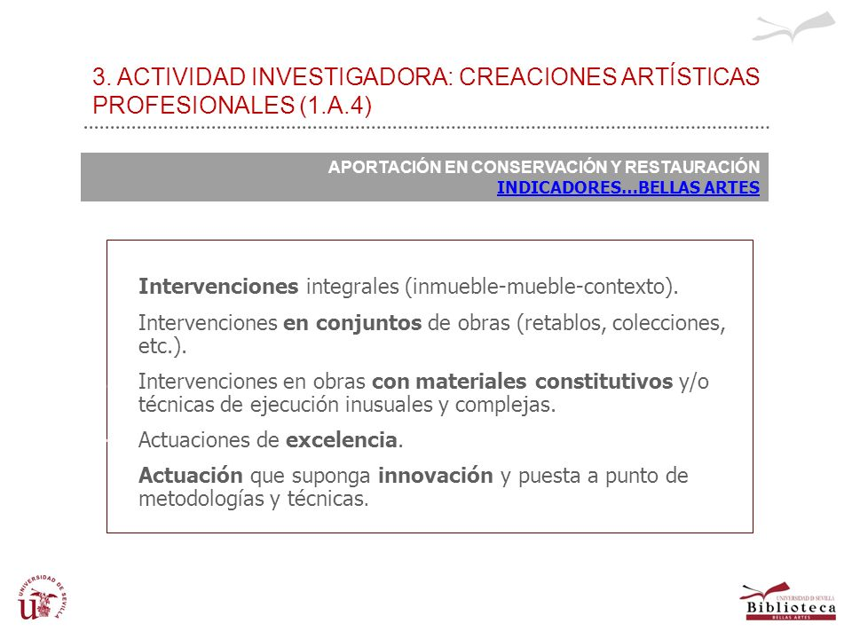 3. ACTIVIDAD INVESTIGADORA: CREACIONES ARTÍSTICAS PROFESIONALES (1. A