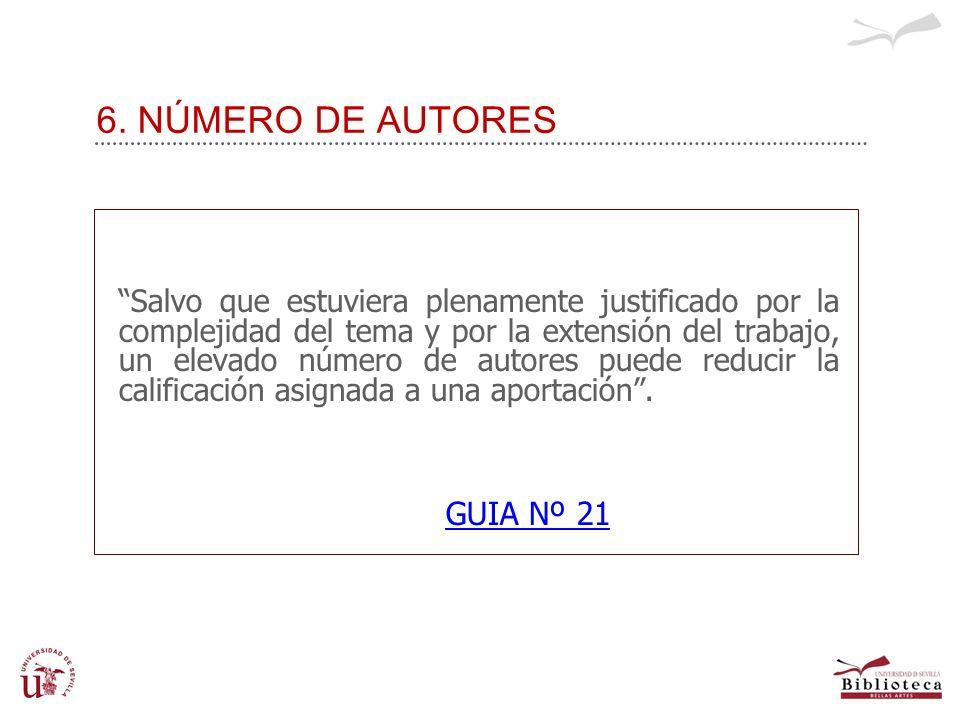 6. NÚMERO DE AUTORES GUIA Nº 21