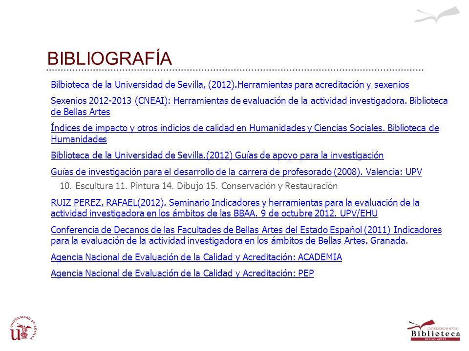 BIBLIOGRAFÍA Bilbioteca de la Universidad de Sevilla, (2012).Herramientas para acreditación y sexenios.