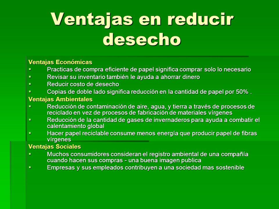 Ventajas en reducir desecho