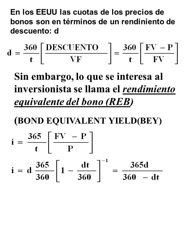 (BOND EQUIVALENT YIELD(BEY)
