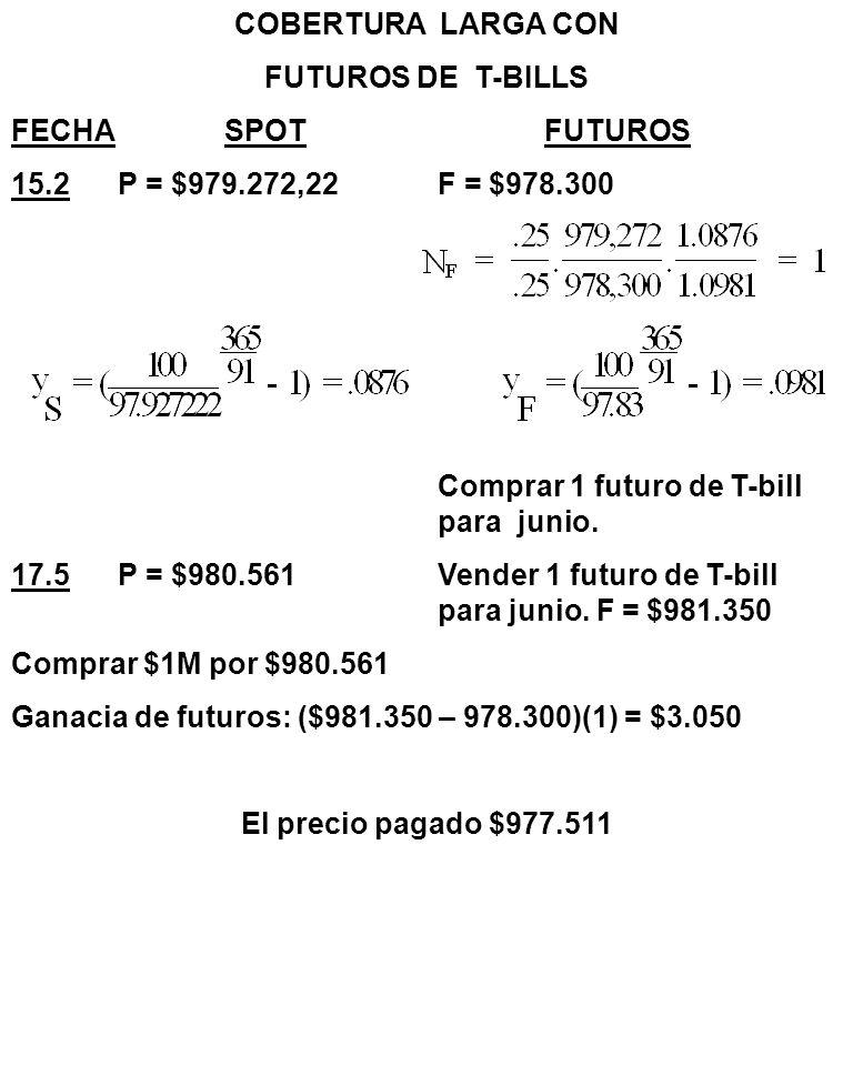COBERTURA LARGA CON FUTUROS DE T-BILLS. FECHA SPOT FUTUROS. 15.2 P = $979.272,22 F = $978.300.