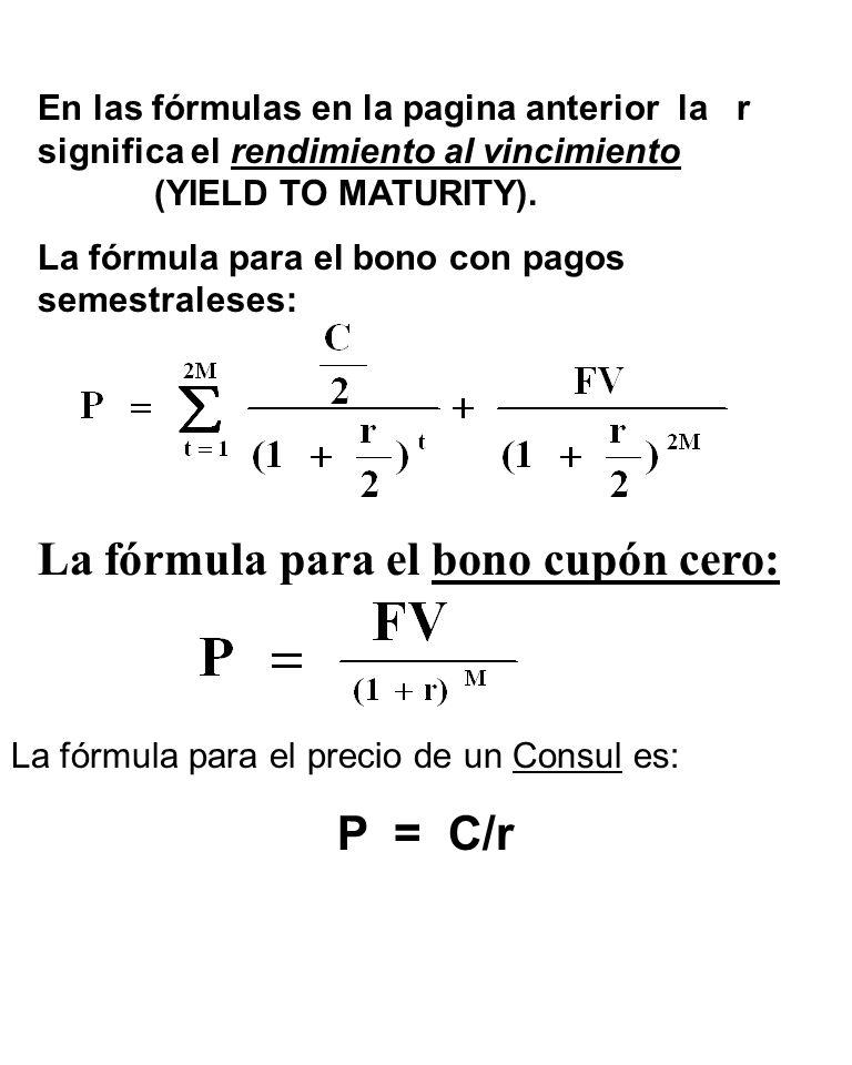 La fórmula para el bono cupón cero: