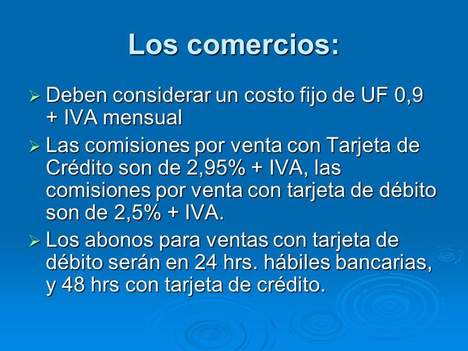 Los comercios: Deben considerar un costo fijo de UF 0,9 + IVA mensual
