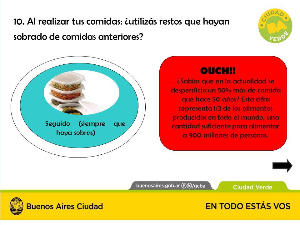 10. Al realizar tus comidas: ¿utilizás restos que hayan sobrado de comidas anteriores