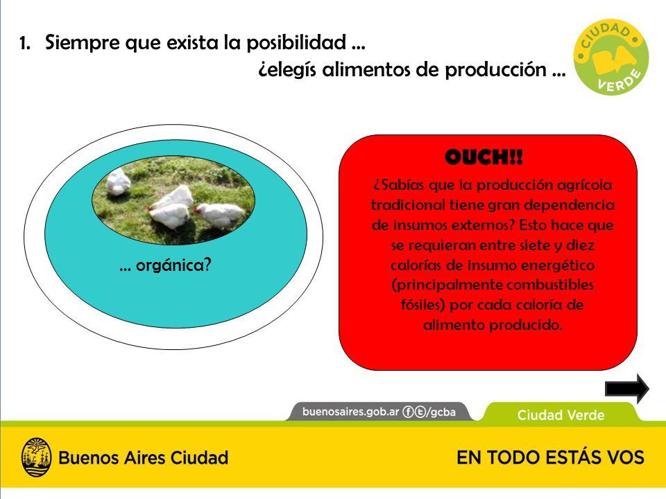 Siempre que exista la posibilidad … ¿elegís alimentos de producción …