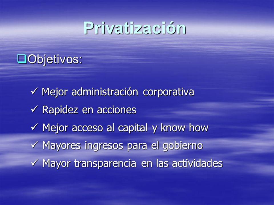Privatización Objetivos: Mejor administración corporativa