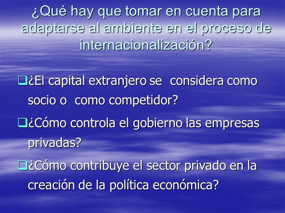 ¿Qué hay que tomar en cuenta para adaptarse al ambiente en el proceso de internacionalización
