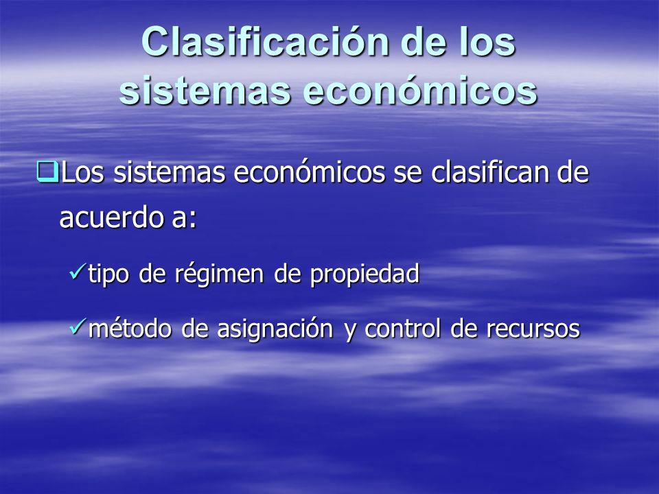 Clasificación de los sistemas económicos