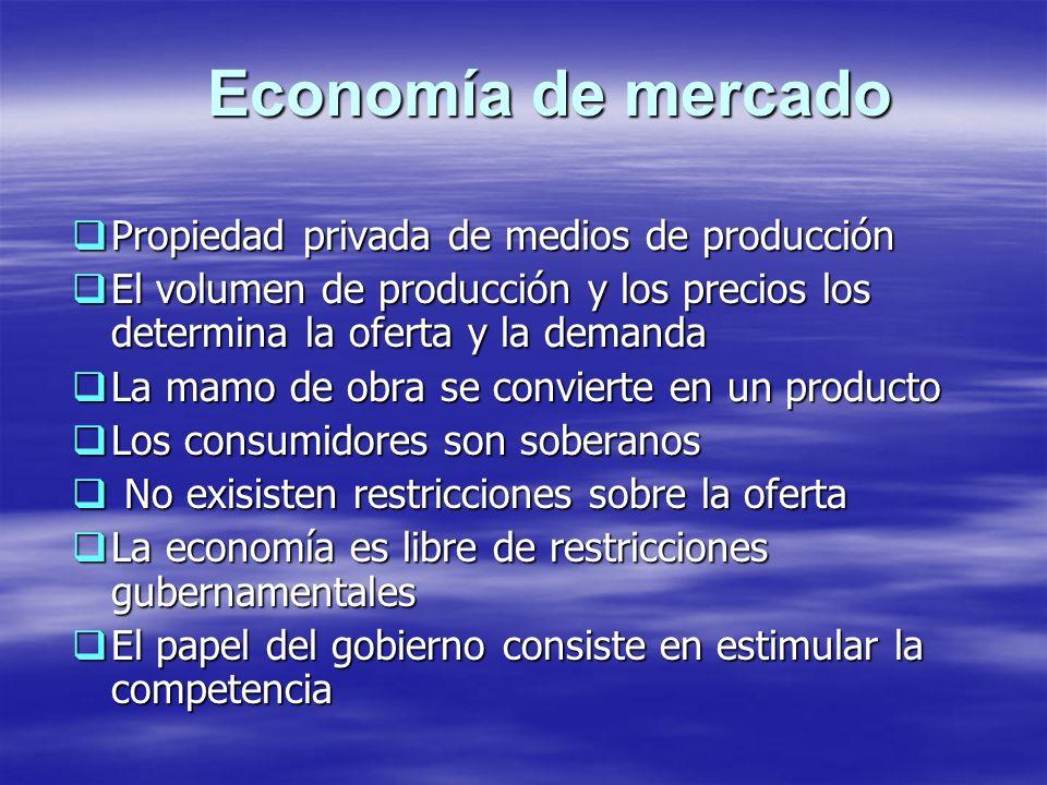 Economía de mercado Propiedad privada de medios de producción