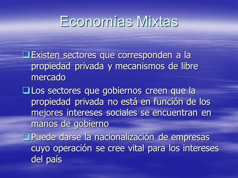 Economías MixtasExisten sectores que corresponden a la propiedad privada y mecanismos de libre mercado.