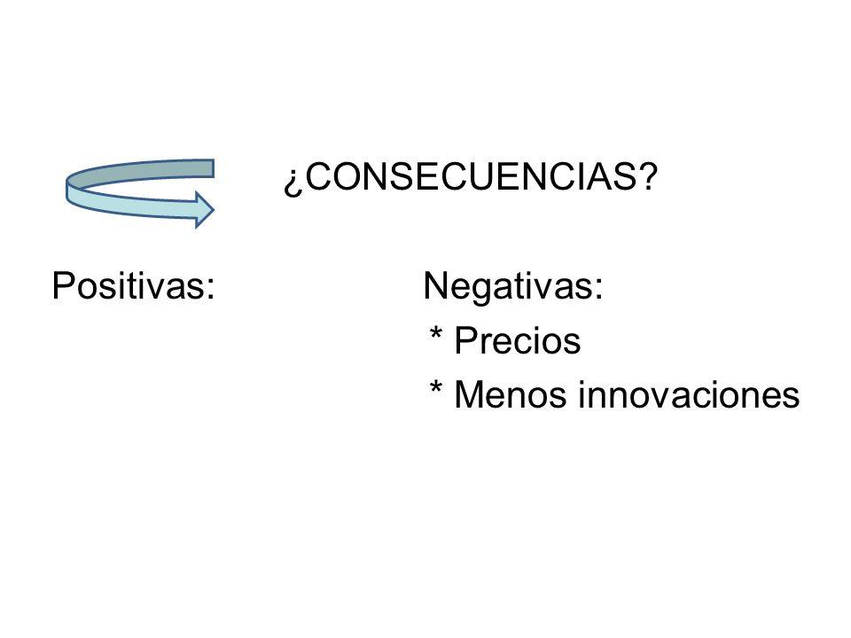 ¿CONSECUENCIAS Positivas: Negativas: * Precios * Menos innovaciones