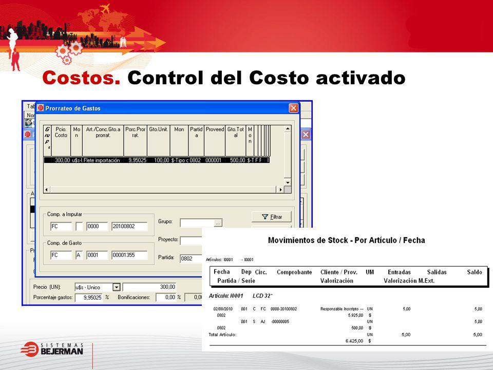 Costos. Control del Costo activado