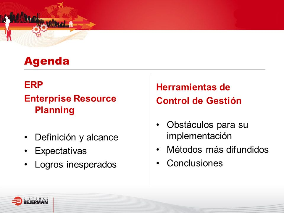 Agenda ERP Herramientas de Enterprise Resource Planning